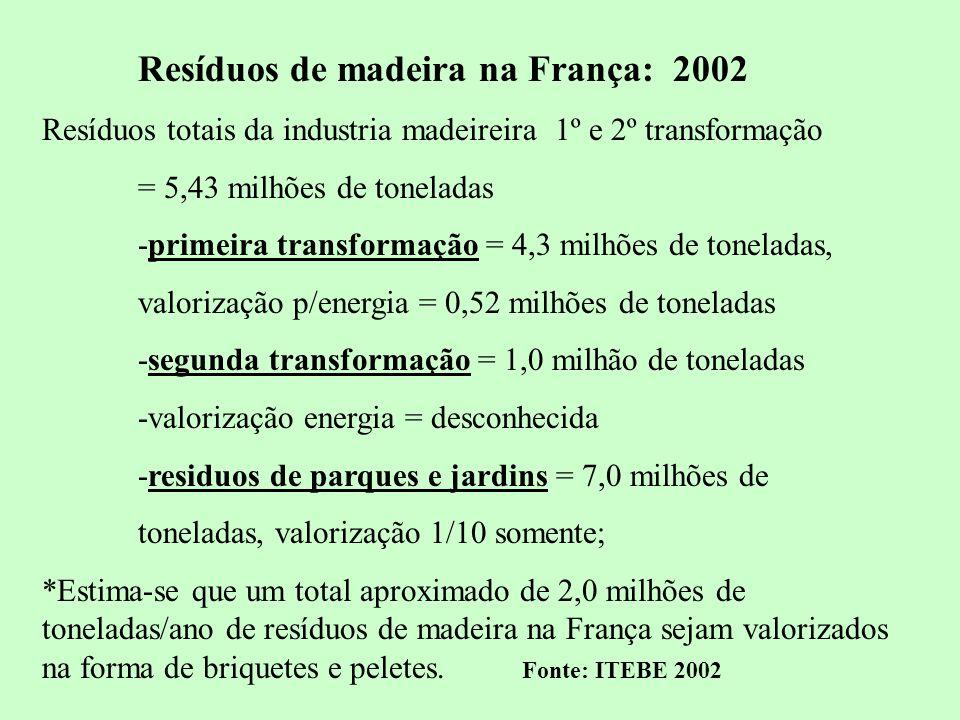 Resíduos de madeira na França: 2002
