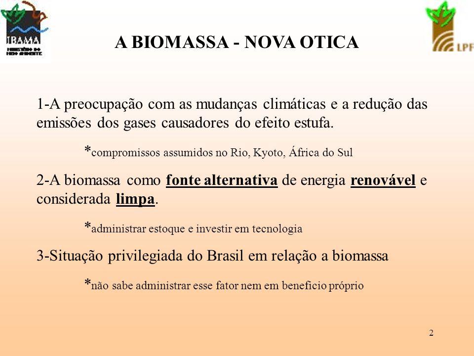 A BIOMASSA - NOVA OTICA 1-A preocupação com as mudanças climáticas e a redução das emissões dos gases causadores do efeito estufa.