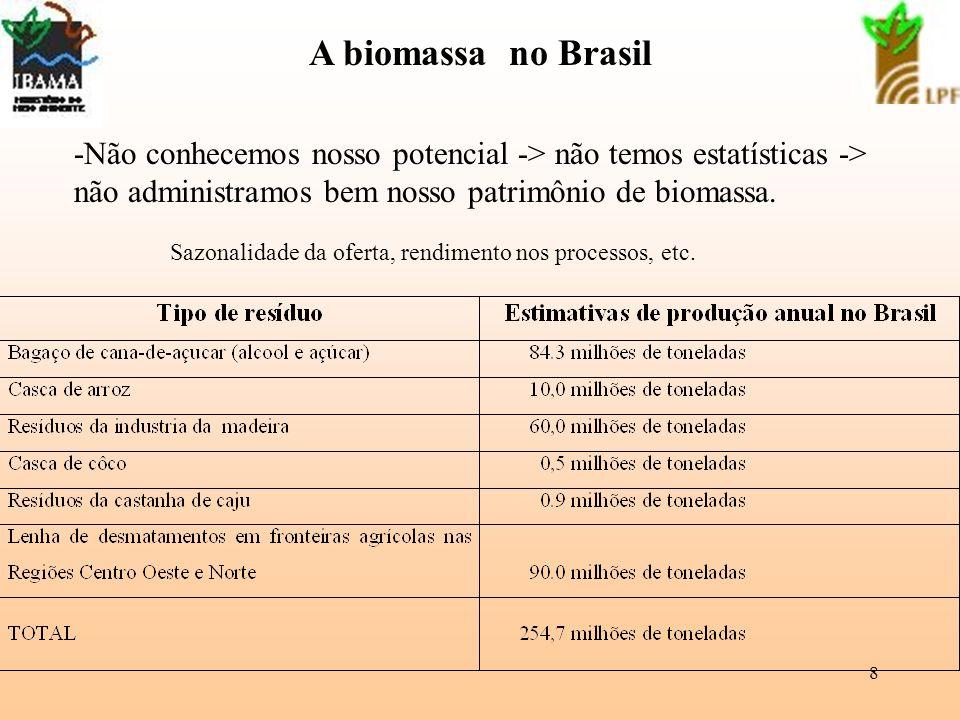 A biomassa no Brasil -Não conhecemos nosso potencial -> não temos estatísticas -> não administramos bem nosso patrimônio de biomassa.