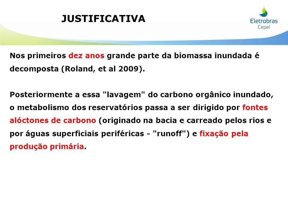 JUSTIFICATIVA Nos primeiros dez anos grande parte da biomassa inundada é decomposta (Roland, et al 2009).