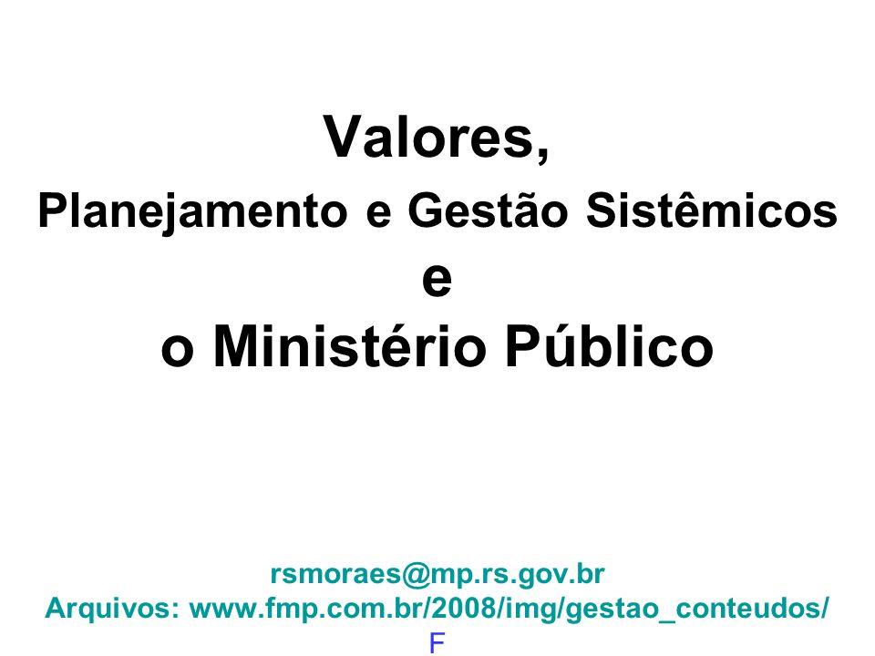 Valores, Planejamento e Gestão Sistêmicos e o Ministério Público rsmoraes@mp.rs.gov.br Arquivos: www.fmp.com.br/2008/img/gestao_conteudos/ F