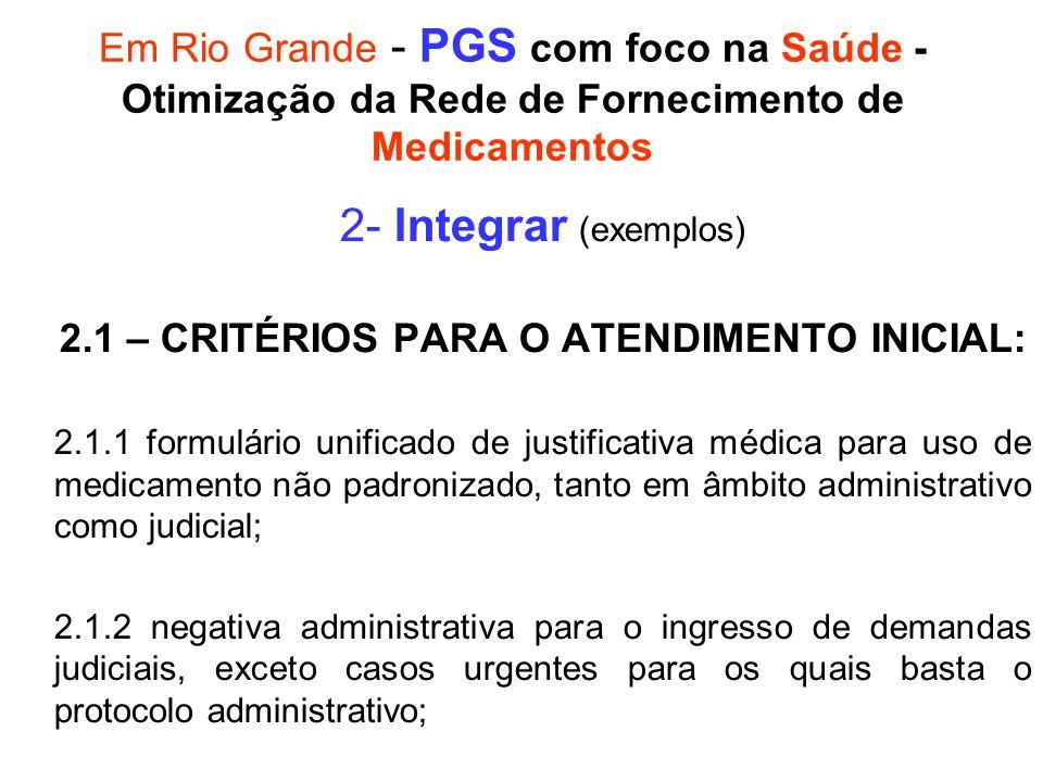 2.1 – CRITÉRIOS PARA O ATENDIMENTO INICIAL: