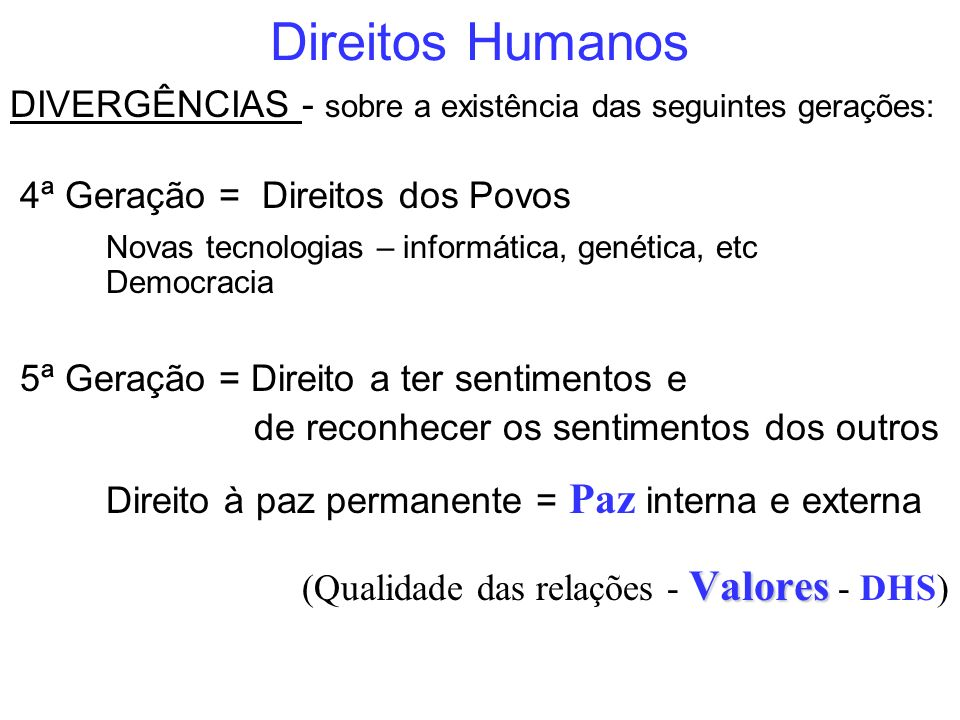 Direitos Humanos DIVERGÊNCIAS - sobre a existência das seguintes gerações: 4ª Geração = Direitos dos Povos.