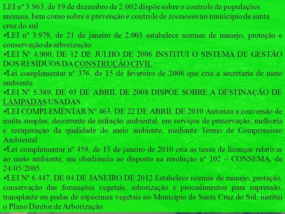 LEI nº 3.963, de 19 de dezembro de 2.002 dispõe sobre o controle de populações animais, bem como sobre a prevenção e controle de zoonoses no município de santa cruz do sul