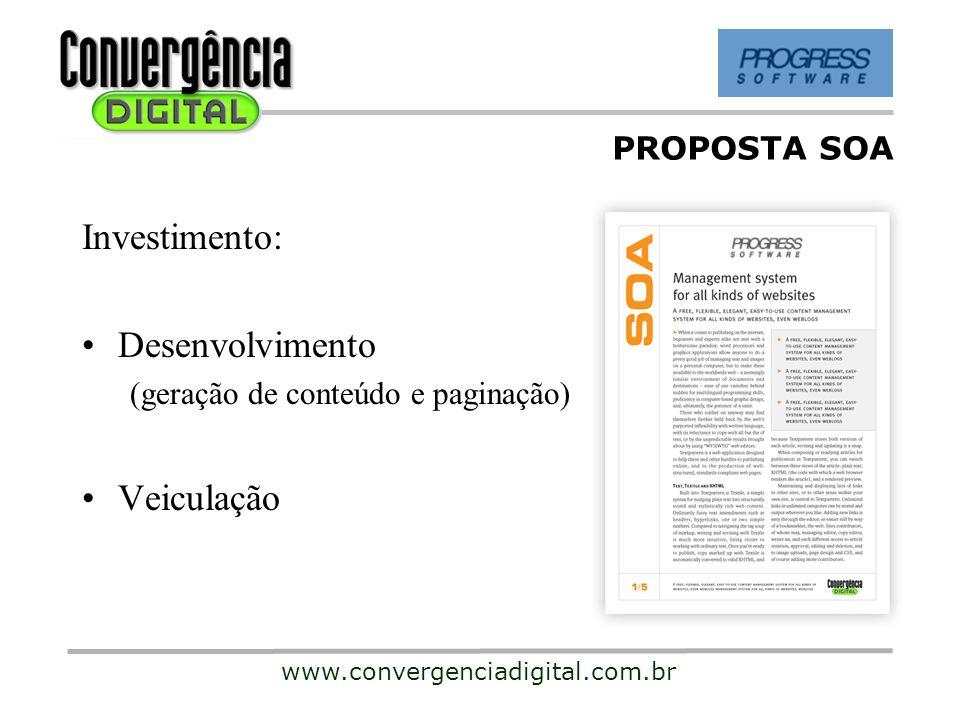 Investimento: Desenvolvimento Veiculação PROPOSTA SOA