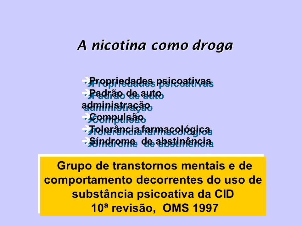 A nicotina como droga Propriedades psicoativas. Padrão de auto administração. Compulsão. Tolerância farmacológica.