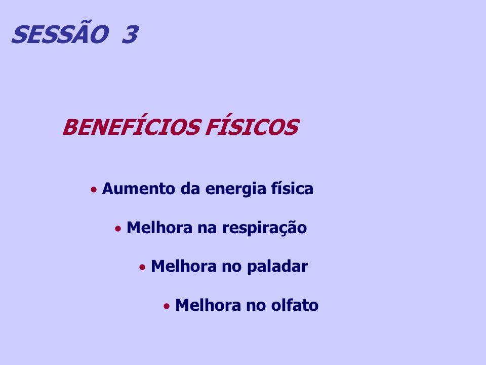 SESSÃO 3 BENEFÍCIOS FÍSICOS Aumento da energia física