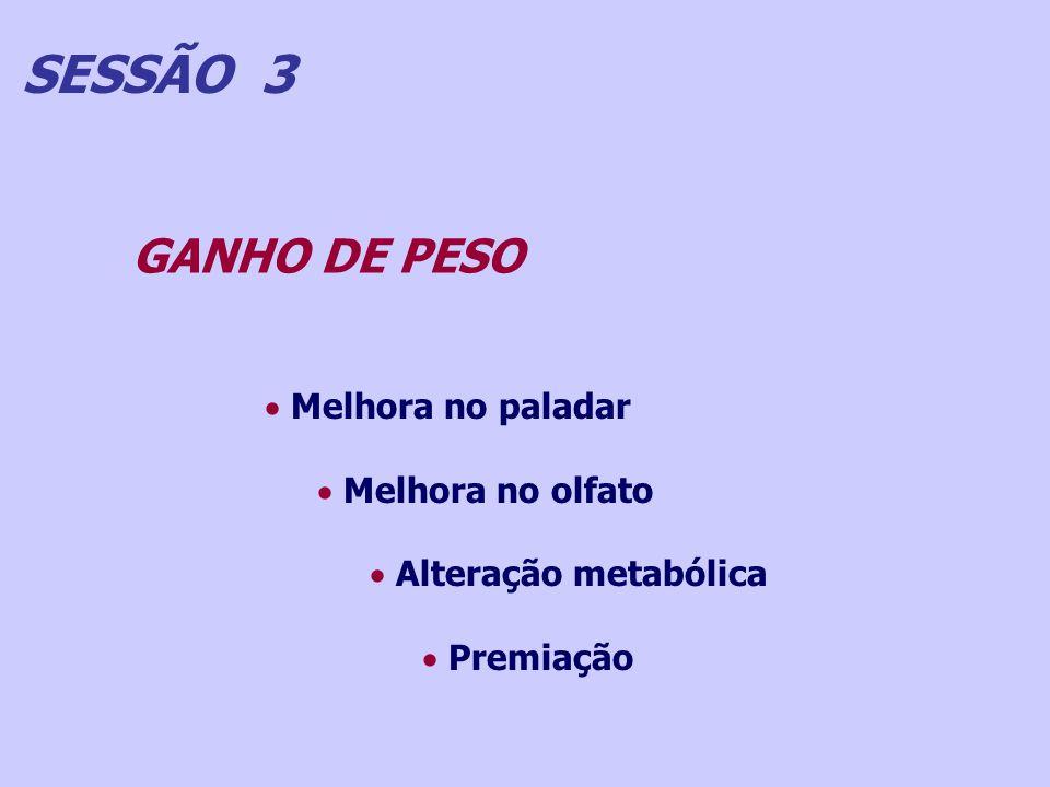 SESSÃO 3 GANHO DE PESO Melhora no paladar Melhora no olfato