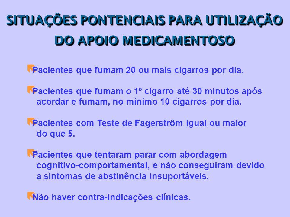 SITUAÇÕES PONTENCIAIS PARA UTILIZAÇÃO DO APOIO MEDICAMENTOSO