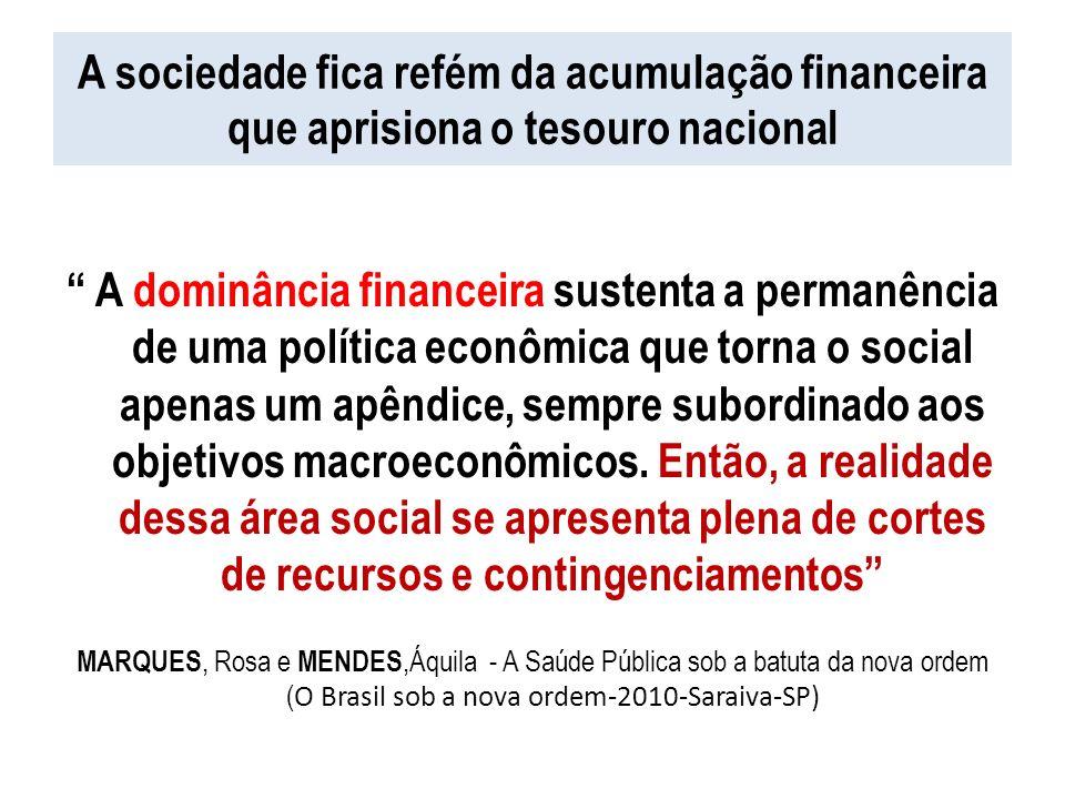A sociedade fica refém da acumulação financeira que aprisiona o tesouro nacional