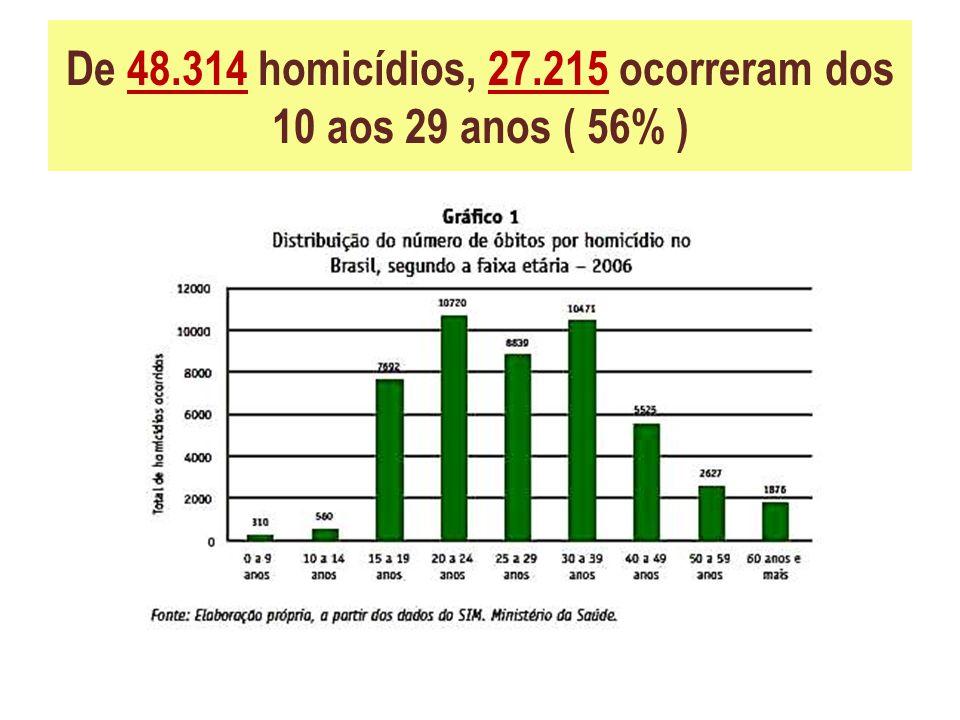 De 48.314 homicídios, 27.215 ocorreram dos 10 aos 29 anos ( 56% )