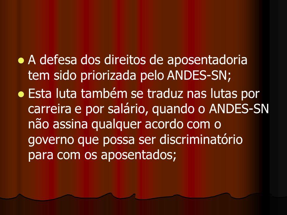 A defesa dos direitos de aposentadoria tem sido priorizada pelo ANDES-SN;