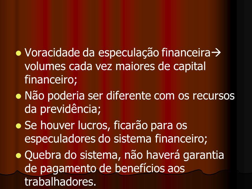 Voracidade da especulação financeira volumes cada vez maiores de capital financeiro;