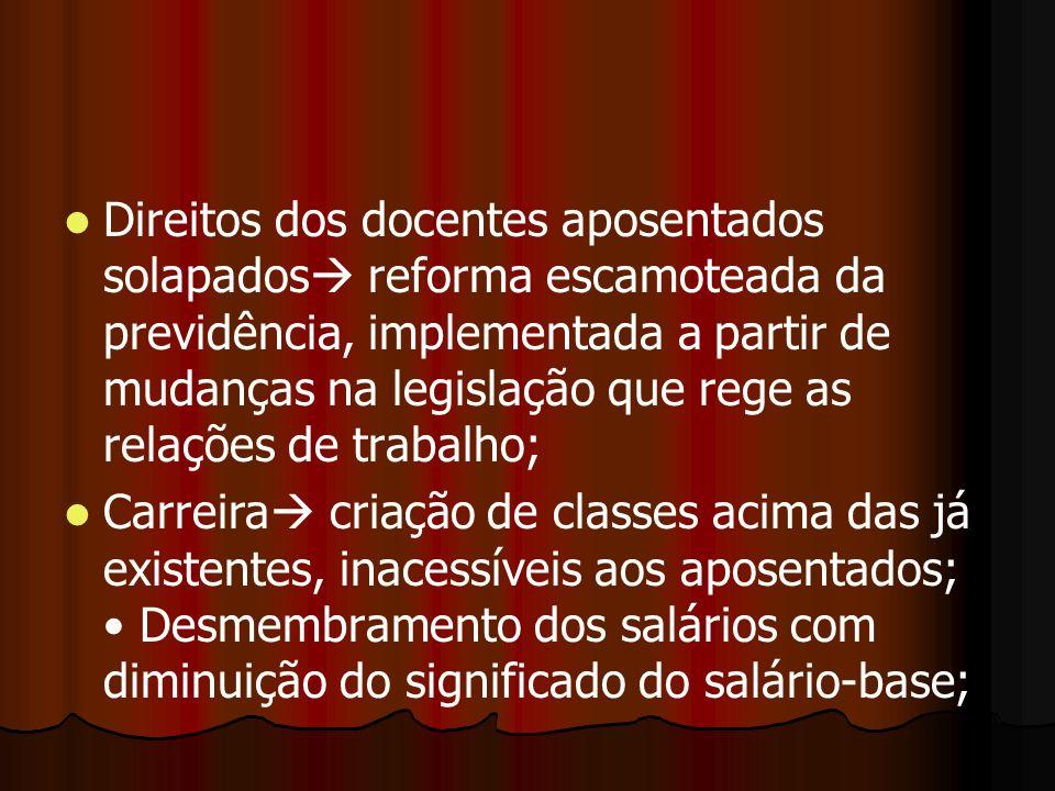 Direitos dos docentes aposentados solapados reforma escamoteada da previdência, implementada a partir de mudanças na legislação que rege as relações de trabalho;