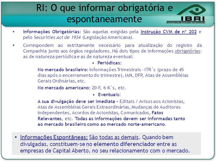 RI: O que informar obrigatória e espontaneamente