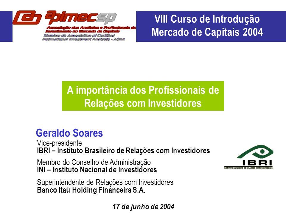 VIII Curso de Introdução Mercado de Capitais 2004