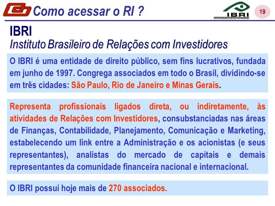 Como acessar o RI IBRI. Instituto Brasileiro de Relações com Investidores.