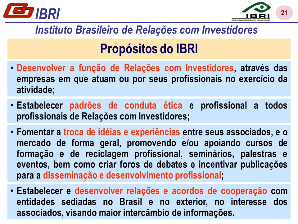 IBRI Propósitos do IBRI