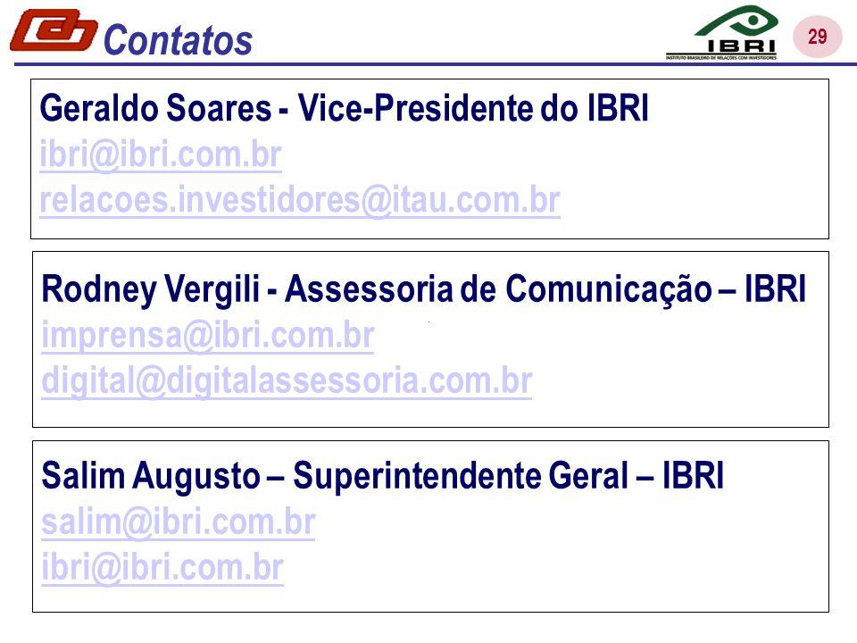 Contatos Geraldo Soares - Vice-Presidente do IBRI ibri@ibri.com.br