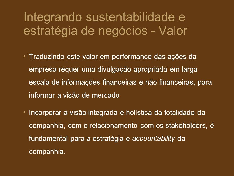 Integrando sustentabilidade e estratégia de negócios - Valor
