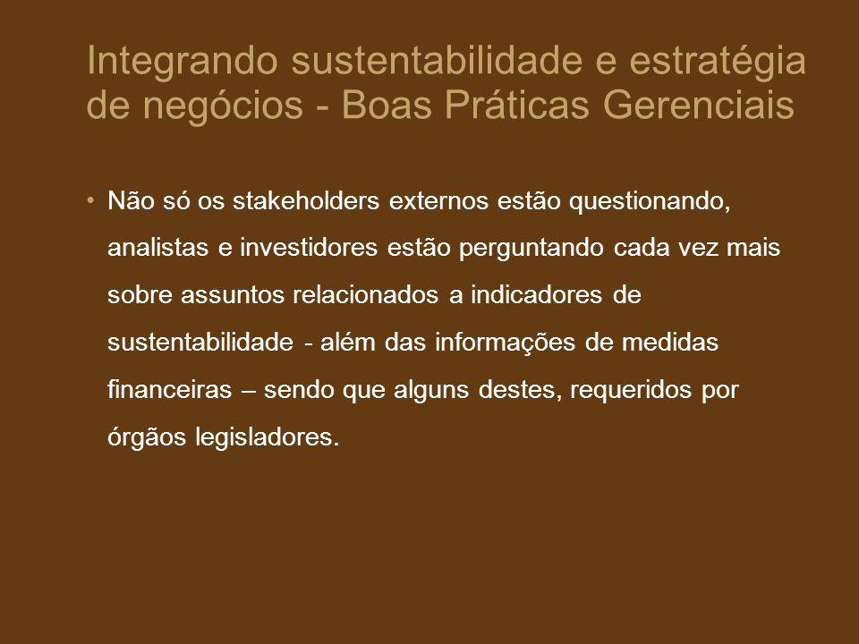 Integrando sustentabilidade e estratégia de negócios - Boas Práticas Gerenciais