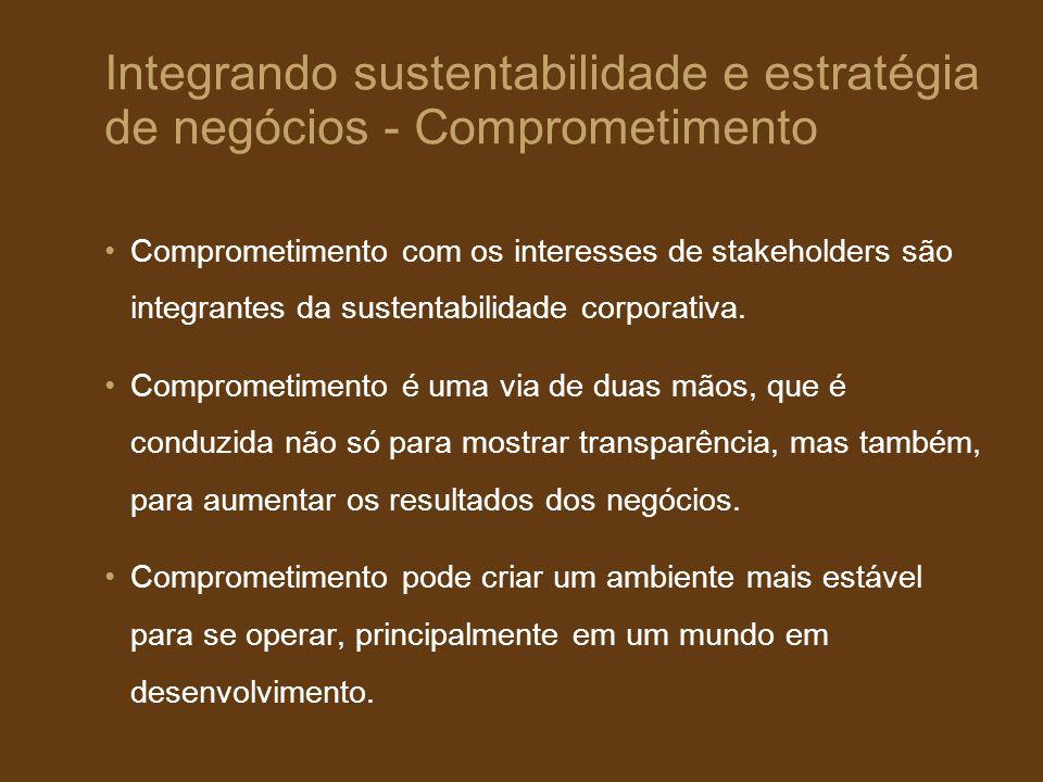 Integrando sustentabilidade e estratégia de negócios - Comprometimento