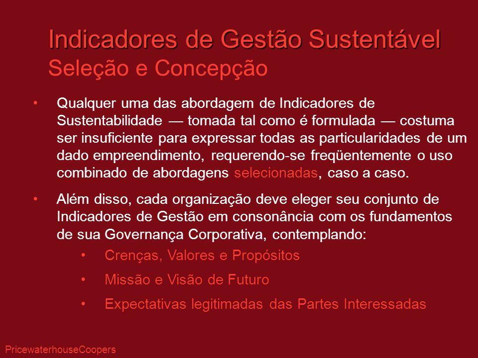 Indicadores de Gestão Sustentável Seleção e Concepção