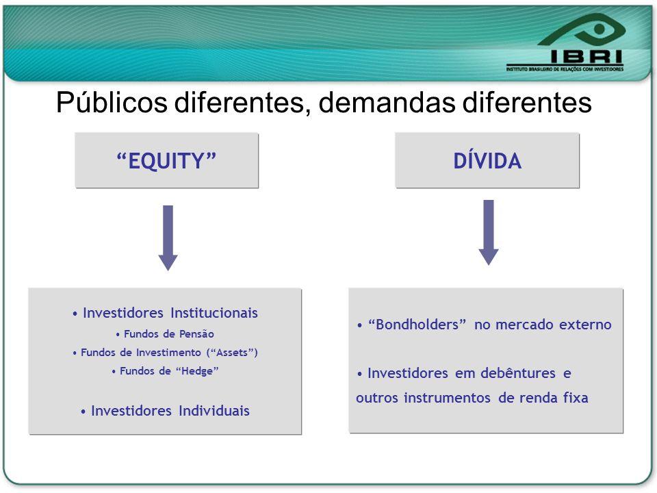 Públicos diferentes, demandas diferentes