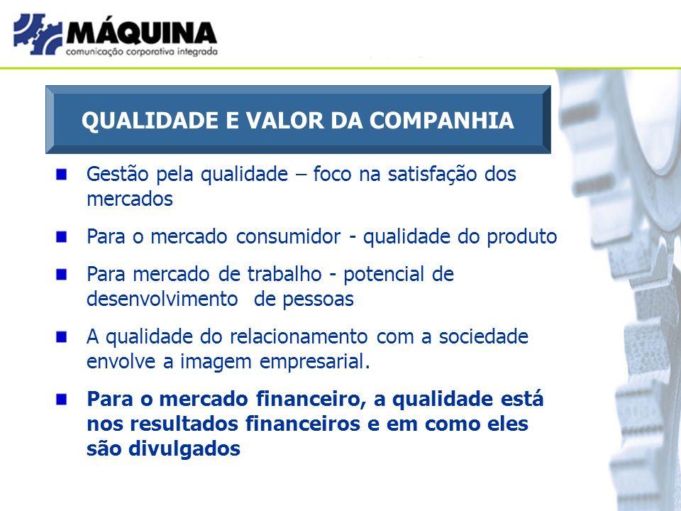 QUALIDADE E VALOR DA COMPANHIA