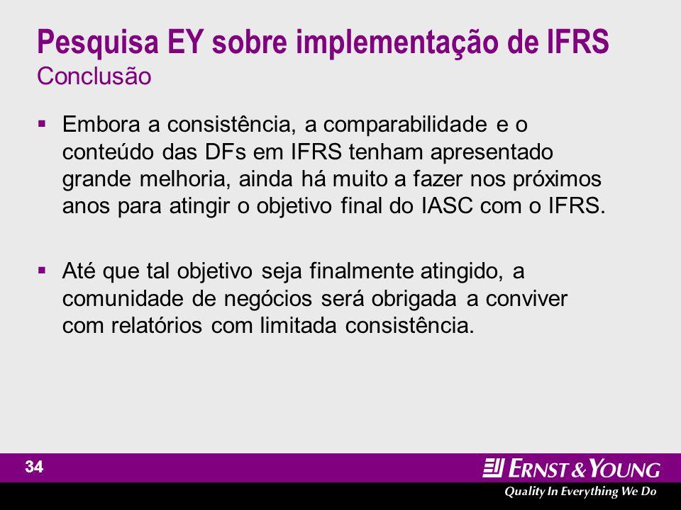 Pesquisa EY sobre implementação de IFRS Conclusão