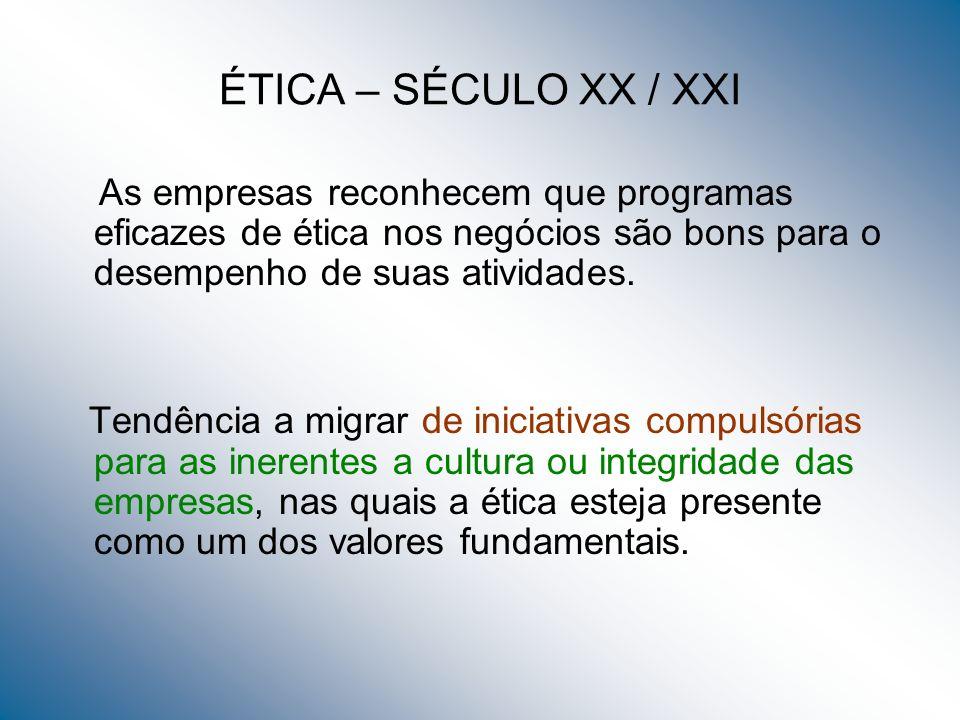 ÉTICA – SÉCULO XX / XXI As empresas reconhecem que programas eficazes de ética nos negócios são bons para o desempenho de suas atividades.