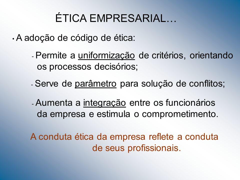 ÉTICA EMPRESARIAL… os processos decisórios;