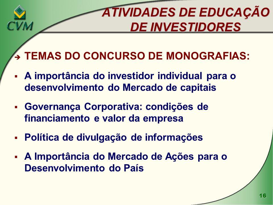 ATIVIDADES DE EDUCAÇÃO DE INVESTIDORES