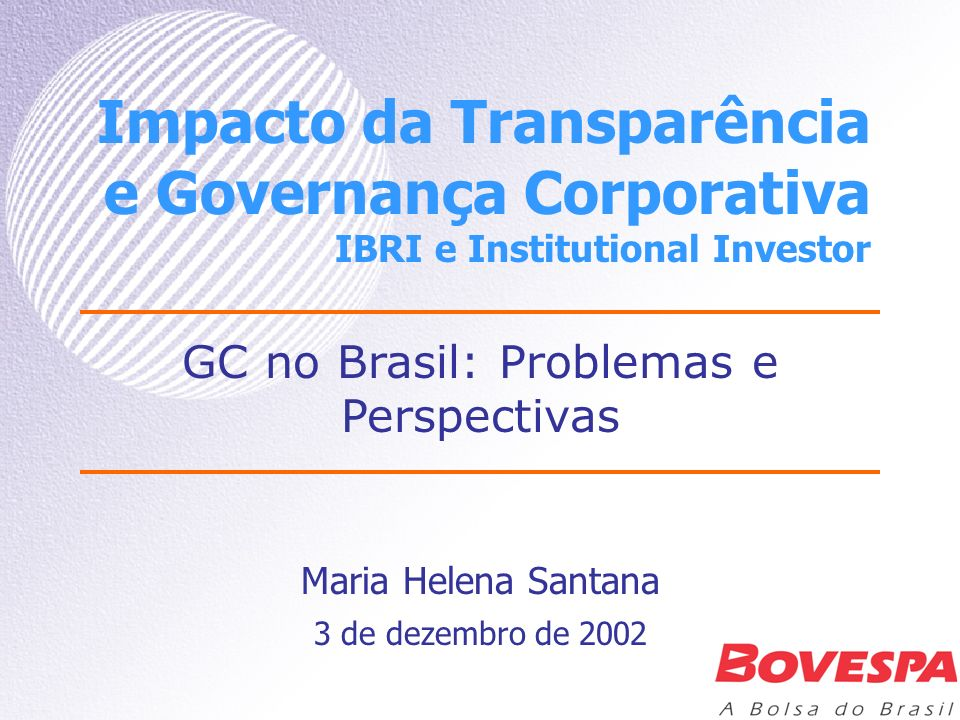 GC no Brasil: Problemas e Perspectivas
