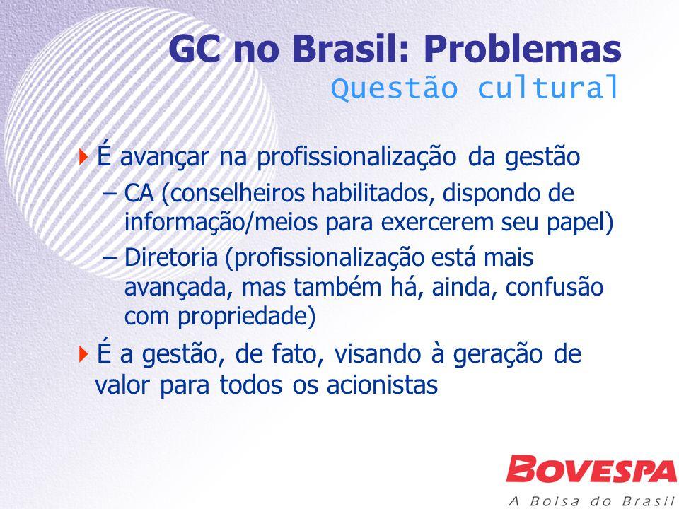 GC no Brasil: Problemas Questão cultural