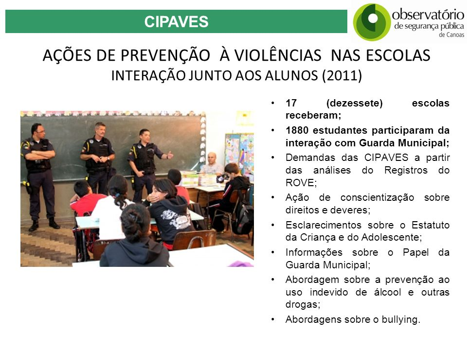 CIPAVESAÇÕES DE PREVENÇÃO À VIOLÊNCIAS NAS ESCOLAS INTERAÇÃO JUNTO AOS ALUNOS (2011) 17 (dezessete) escolas receberam;