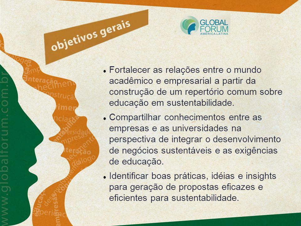 Fortalecer as relações entre o mundo acadêmico e empresarial a partir da construção de um repertório comum sobre educação em sustentabilidade.