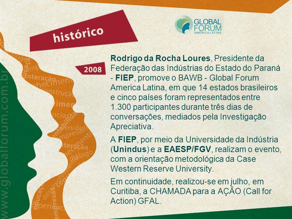 Rodrigo da Rocha Loures, Presidente da Federação das Indústrias do Estado do Paraná - FIEP, promove o BAWB - Global Forum America Latina, em que 14 estados brasileiros e cinco países foram representados entre 1.300 participantes durante três dias de conversações, mediados pela Investigação Apreciativa.