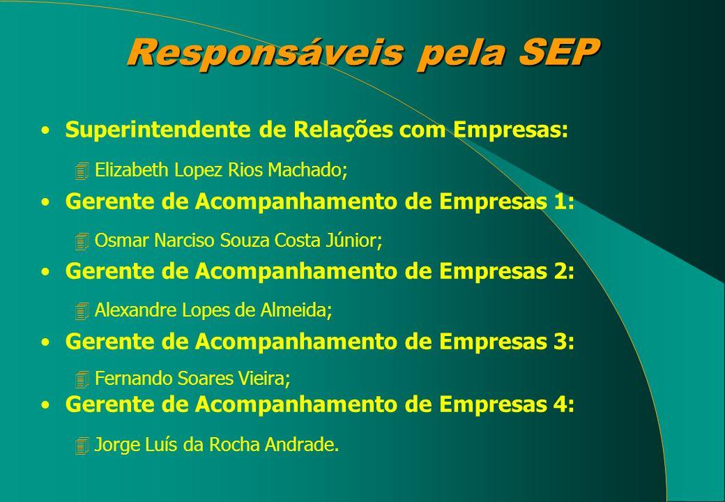 Responsáveis pela SEP Superintendente de Relações com Empresas: