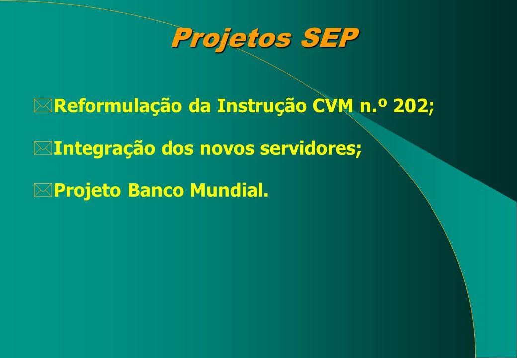 Projetos SEP Reformulação da Instrução CVM n.º 202;