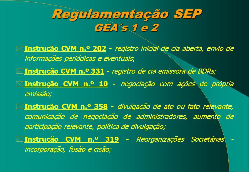Regulamentação SEP GEA´s 1 e 2