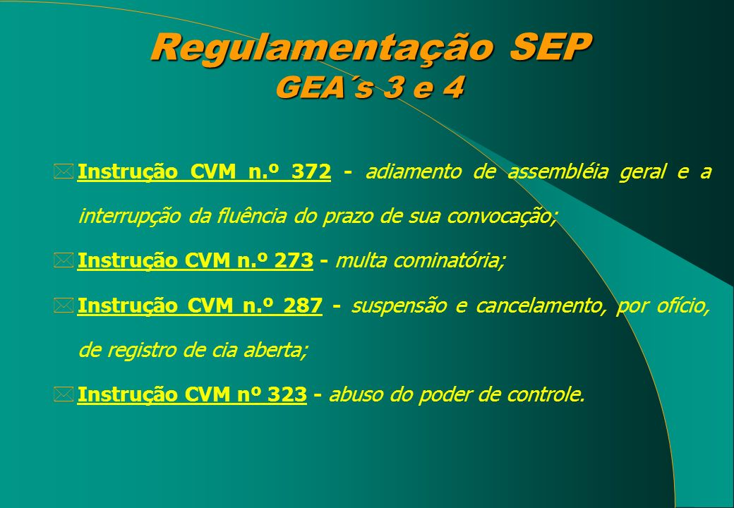 Regulamentação SEP GEA´s 3 e 4