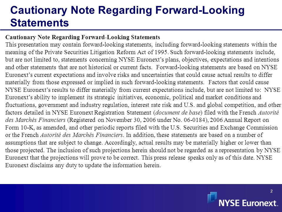 Cautionary Note Regarding Forward-Looking Statements