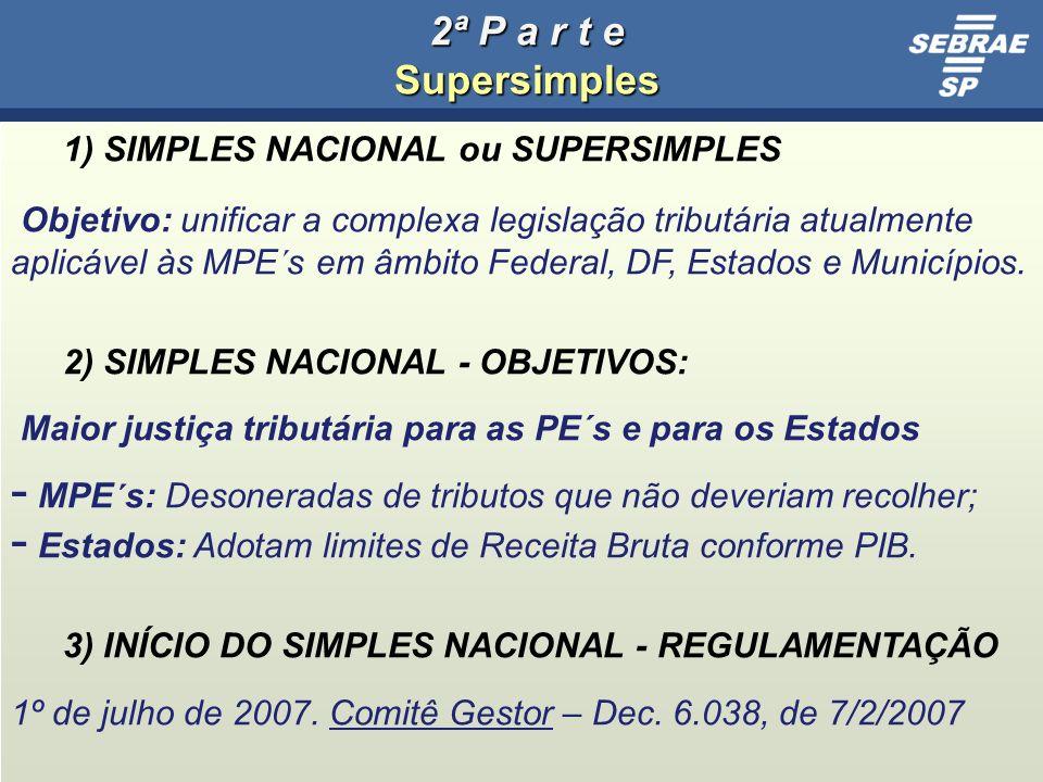2ª P a r t e Supersimples 1) SIMPLES NACIONAL ou SUPERSIMPLES