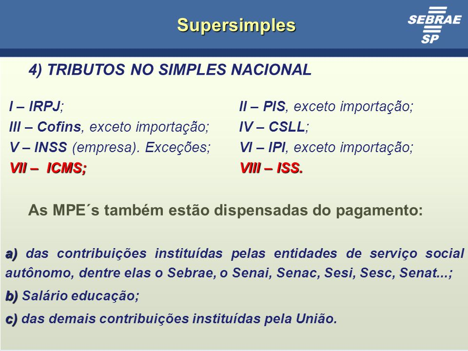 Supersimples 4) TRIBUTOS NO SIMPLES NACIONAL