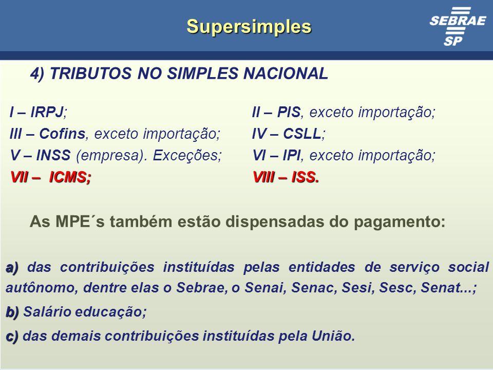 Supersimples 4) TRIBUTOS NO SIMPLES NACIONAL