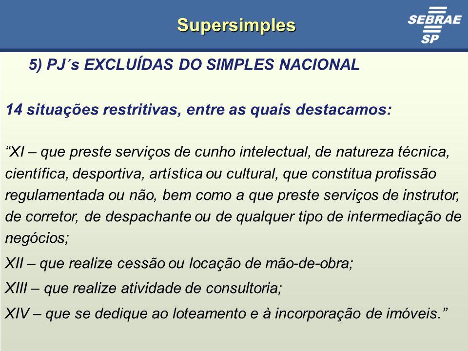 Supersimples 5) PJ´s EXCLUÍDAS DO SIMPLES NACIONAL