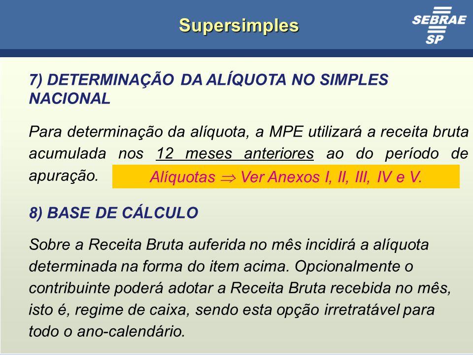 Alíquotas  Ver Anexos I, II, III, IV e V.