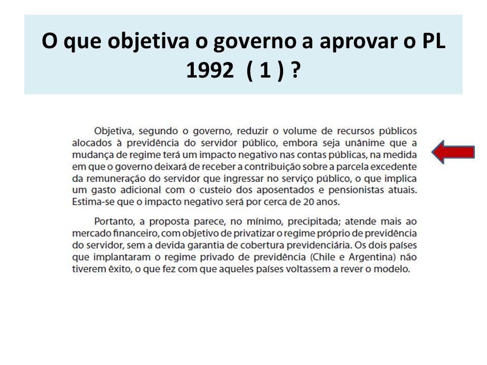 O que objetiva o governo a aprovar o PL 1992 ( 1 )