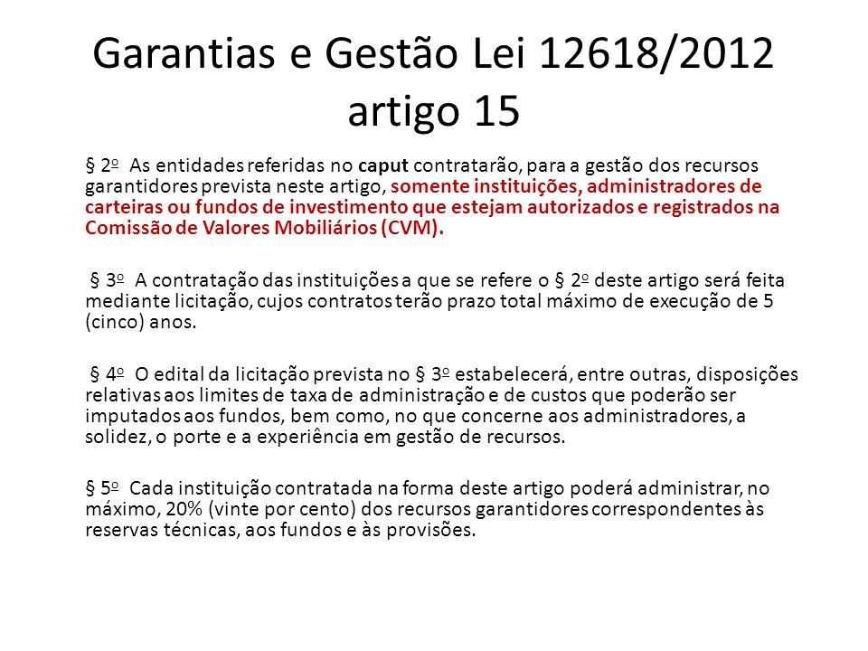 Garantias e Gestão Lei 12618/2012 artigo 15